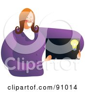 Royalty Free RF Clipart Illustration Of A Businesswoman Holding A Blank Light Bulb Business Card by Prawny