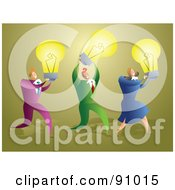 Royalty Free RF Clipart Illustration Of A Business Team Carrying Yellow Light Bulbs by Prawny