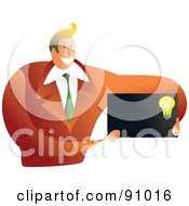 Royalty Free RF Clipart Illustration Of A Businessman Holding A Blank Light Bulb Business Card by Prawny