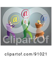 Royalty Free RF Clipart Illustration Of A Successful Business Team Carrying Email Symbols