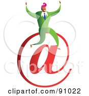 Royalty Free RF Clipart Illustration Of A Successful Businessman Sitting On An At Email Symbol by Prawny