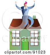 Royalty Free RF Clipart Illustration Of A Successful Businessman Sitting On A House
