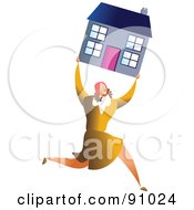 Royalty Free RF Clipart Illustration Of A Successful Businesswoman Carrying A House
