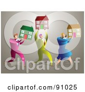 Royalty Free RF Clipart Illustration Of A Successful Business Team Carrying Houses