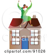 Royalty Free RF Clipart Illustration Of A Successful Businesswoman Sitting On A House