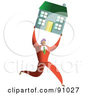Royalty Free RF Clipart Illustration Of A Successful Businessman Carrying A House