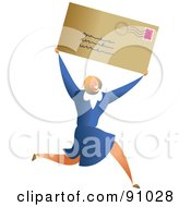 Royalty Free RF Clipart Illustration Of A Successful Businesswoman Carrying A Letter by Prawny