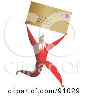 Royalty Free RF Clipart Illustration Of A Successful Businessman Carrying A Letter by Prawny