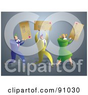 Royalty Free RF Clipart Illustration Of A Successful Business Team Carrying Letters by Prawny