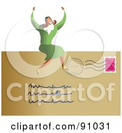 Royalty Free RF Clipart Illustration Of A Successful Businesswoman Sitting On A Letter by Prawny