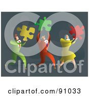 Royalty Free RF Clipart Illustration Of A Successful Business Team Carrying Puzzle Pieces