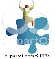 Royalty Free RF Clipart Illustration Of A Successful Businesswoman Sitting On A Puzzle Piece by Prawny