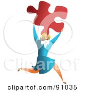 Royalty Free RF Clipart Illustration Of A Successful Businesswoman Carrying A Puzzle Piece