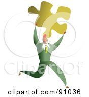 Royalty Free RF Clipart Illustration Of A Successful Businessman Carrying A Puzzle Piece