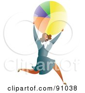 Royalty Free RF Clipart Illustration Of A Successful Businesswoman Carrying A Pie Chart by Prawny