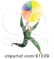 Royalty Free RF Clipart Illustration Of A Successful Businessman Carrying A Pie Chart by Prawny