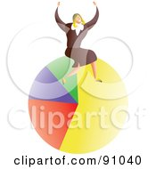 Royalty Free RF Clipart Illustration Of A Successful Businesswoman Sitting On A Pie Chart by Prawny