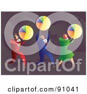 Royalty Free RF Clipart Illustration Of A Successful Business Team Carrying Pie Charts by Prawny