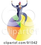 Royalty Free RF Clipart Illustration Of A Successful Businessman Sitting On A Pie Chart by Prawny