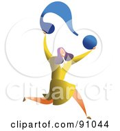 Royalty Free RF Clipart Illustration Of A Successful Businesswoman Carrying A Question Mark by Prawny