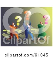 Royalty Free RF Clipart Illustration Of A Successful Business Team Carrying Question Marks by Prawny