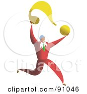 Royalty Free RF Clipart Illustration Of A Successful Businessman Carrying A Question Mark