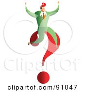 Royalty Free RF Clipart Illustration Of A Successful Businessman Sitting On A Question Mark by Prawny