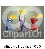 Royalty Free RF Clipart Illustration Of A Successful Business Team Carrying Gold Coins