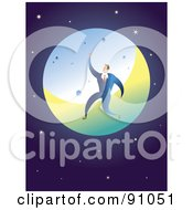 Royalty Free RF Clipart Illustration Of A Businessman Leaping In Front Of The Moon Against A Starry Universe by Prawny