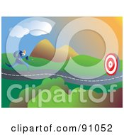 Royalty Free RF Clipart Illustration Of A Businessman Running Towards A Target On A Roadway