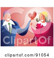 Royalty Free RF Clipart Illustration Of A Sweet Businessman Giving A Woman His Heart by Prawny