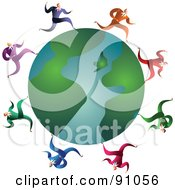 Royalty Free RF Clipart Illustration Of A Team Of Businessmen Running Around A Globe by Prawny