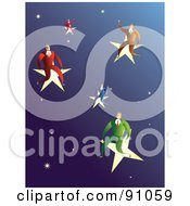 Royalty Free RF Clipart Illustration Of A Male Business Team Sitting On Stars In A Sky