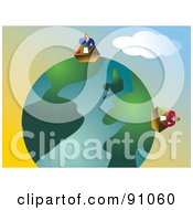 Royalty Free RF Clipart Illustration Of Two Businessmen Working In Their Offices On A Globe