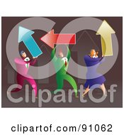 Royalty Free RF Clipart Illustration Of A Successful Business Team Carrying Arrows