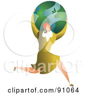 Successful Businesswoman Carrying A Globe