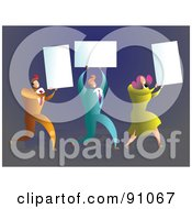 Royalty Free RF Clipart Illustration Of A Business Team Carrying Blank Cards
