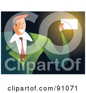 Royalty Free RF Clipart Illustration Of A Businessman In A Green Suit Holding A Blank Business Card