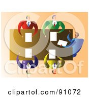 Royalty Free RF Clipart Illustration Of An Aerial View Of Five Businessmen In A Meeting