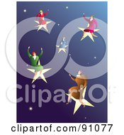 Royalty Free RF Clipart Illustration Of Successful Businesswomen On Stars In A Sky by Prawny