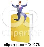 Royalty Free RF Clipart Illustration Of A Successful Businessman Sitting On A Folder by Prawny