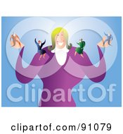 Royalty Free RF Clipart Illustration Of A Businesswoman With Tiny Employees On Her Arms