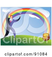 Royalty Free RF Clipart Illustration Of A Businessman Following A Rainbow To Find A Pot Of Gold by Prawny
