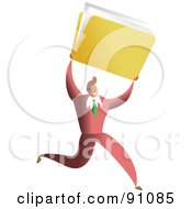 Royalty Free RF Clipart Illustration Of A Successful Businessman Carrying A Folder by Prawny