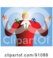 Royalty Free RF Clipart Illustration Of A Businessman With Tiny Employees On His Arms by Prawny
