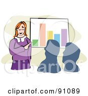 Royalty Free RF Clipart Illustration Of A Businesswoman Discussing Financial Stats In A Meeting by Prawny