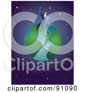 Royalty Free RF Clipart Illustration Of A Businessman Sitting On Top Of A Globe Against A Starry Universe