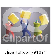 Royalty Free RF Clipart Illustration Of A Successful Business Team Carrying Folders by Prawny