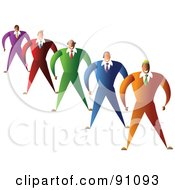 Royalty Free RF Clipart Illustration Of A Diverse Team Of Businessmen In Colorful Suits