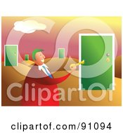 Royalty Free RF Clipart Illustration Of A Businessman Holding A Key In A Desert Of Doors by Prawny